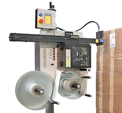 Model 5300 tamp-blow pallet print apply system